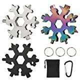 EZESO 19-in-1 Snowflake Multi Tool, 18-in-1 3 Pack Stainless Steel Multitool Card Snowflake Bottle Opener/Flat Phillips Screwdriver Kit/Wrench, Portable Outdoor Products Snowflake Tool Card