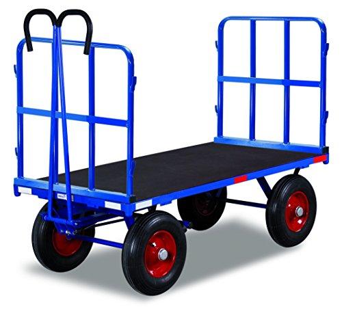 Handpritschenwagen mit 2 Rohrgitterwänden Traglast (kg): 1000 Ladefläche: 1140 x 800 mm RAL 5010 Enzianblau