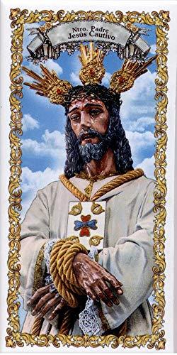 Jesús Cautivo. Azulejo fabricado artesanalmente para decorar. Cerámica para colgar. Calca cerámica. TORO DEL ORO (10x20 cms)