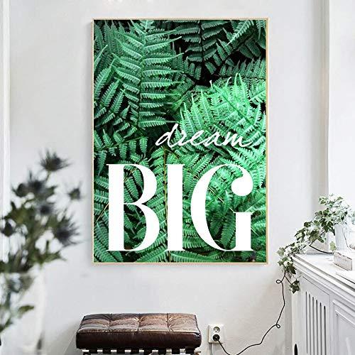 KWzEQ Hoja de Cactus Verde Gran Planta nórdica Lienzo Pintura Cartel de la Pared y Mural salón Comedor decoración-Pintura sin marco30X40cm