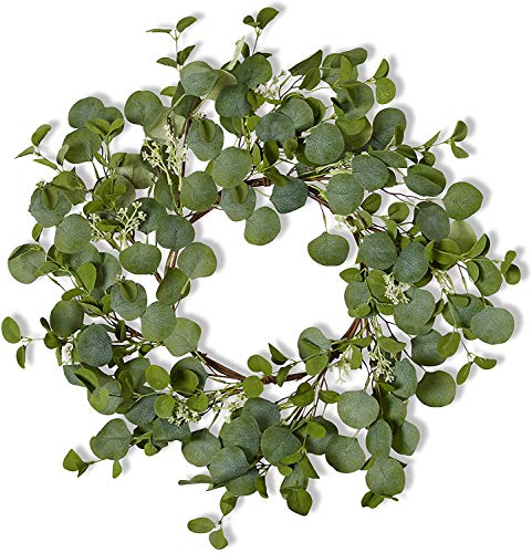 Farmhouse Eucalyptus Wreath - Round - 26 Inch - Artificial Greenery - Beautiful Green - Bendable - Front Door Decoration - Rustic Indoor Decor - Natural Home Wall Decor - Fall - Winter