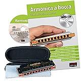 Cascha HH 1610 IT - Set armónica de blues profesional con manual en italiano