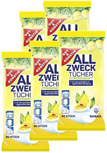 Toallitas húmedas en envase dispensador, 400 unidades, 5 unidades (5 x 80 unidades), con aroma fresco de limón