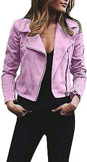 Respctful✿Women's Retro Short Slim Zip Faux Leather Moto Jacket Fashion Bomber Jacket Casual Coat Outwear