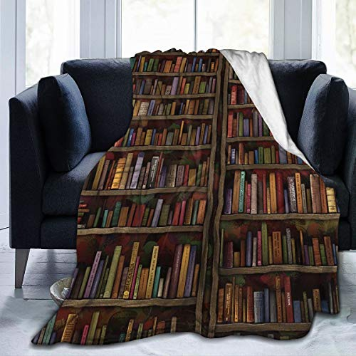 YongColer Comfy Soft Sherpa Flannel Throw Blanket Cloak for Bed Couch Chair Living Room, Vintage Library Bookshelf Bookcase Oversized Sleeping Blanket Wearable Throw