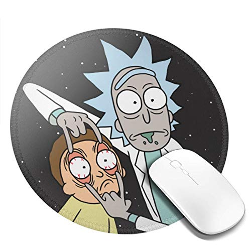 Rick&Morty Round Gaming Mousepad Laptop Mouse Pad Waterproof Non-Slip Mouse Pads Premium-Textured Mouse Mat Can Be Cleaned Desk Decor Suitable for Office Family Games 7.9x7.9 Inch