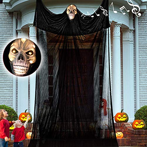 12.3ft Halloween Ghost Hanging Decorations, Scary Hanging Reaper Motion Voice Activated with Creepy Sound & Glowing Mask Flying Ghost for Haunted House, Yard Home Party Indoor Outdoor Decor