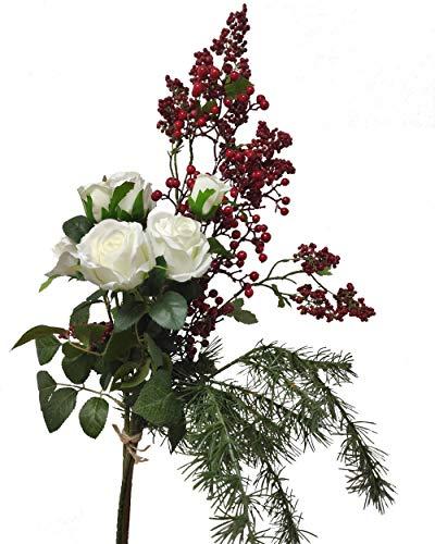 2474U Blumen Bouquet Festive Winter naturgetreue Blüten Strauß 65cm Künstliche Blumen Seidenblumen Rosenstrauch weiß und Beerenstrauch rot Weihnachtsdeko,