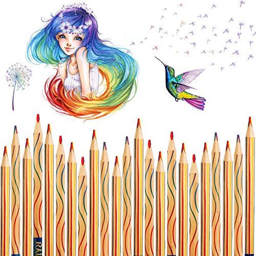 Regenbogenstift, Vegena 30 Stücke Regenbogen Buntstifte Set Zeichnung Bleistifte Malstifte 4 in 1 Zauberstift Farbstift Holzstifte für Erwachsene oder Kinder Kunst Zeichnung, Färbung und Skizzieren