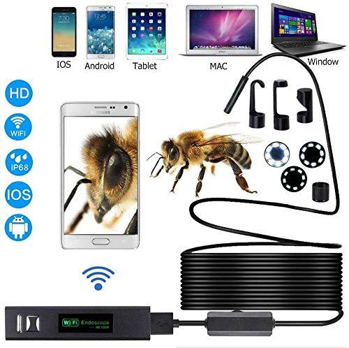 Riloer Endoscopio Inalámbrico, Cámara de Inspección de Boroscopio WiFi con HD de 2,0 Megapíxeles, 8 Luces LED Ajustables para Teléfonos Inteligentes, 1 Metro