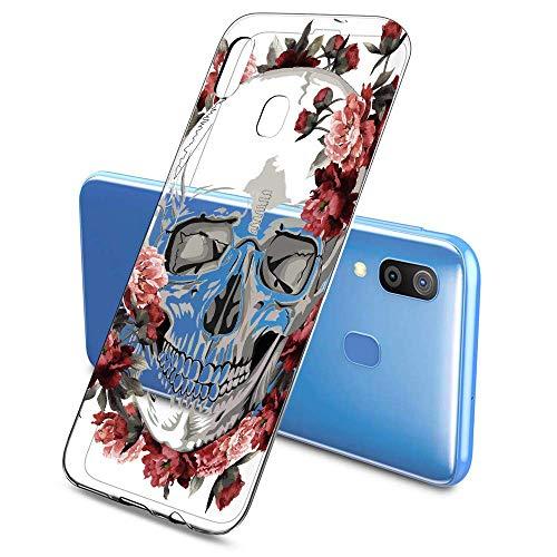 Suhctup Transparent Coque Compatible pour Samsung Galaxy A20E,Etui en Silicone TPU Gel Souple Ultra Fin Fleur Dessin Clear Case Anti Choc Protection Housse pour Samsung Galaxy A20E(Fleur 1)
