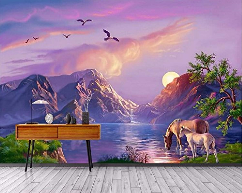 Weaeo Fondo De Pantalla Mural Personalizado 3D La Pintura Al óleo De Paraíso Wonderland Pintura Imagen 3D Parojo Murales De Papel Tapiz Para Parojoes 3D-200X140Cm