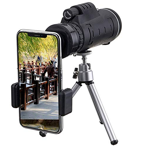 Telescopio monocular de 40 x 60 lente monocular óptica HD + trípode + clip para teléfono móvil para observar aves camping viajes