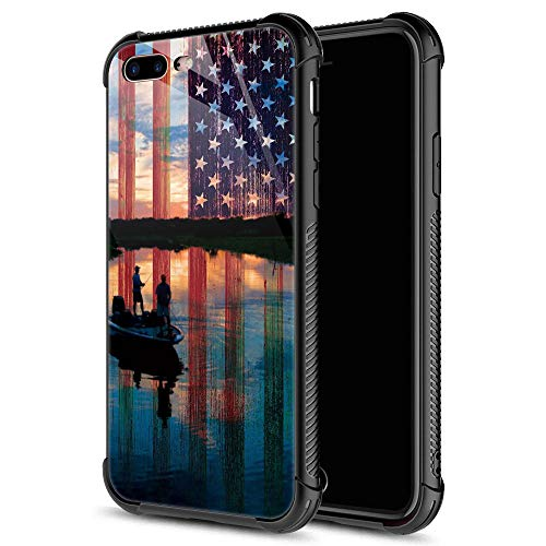 CARLOCA iPhone 8 Case,iPhone SE 2020 Case,Fishing Red USA Flag iPhone 7 Cases for Girls Boys,Graphic Design Shockproof Anti-Scratch Drop Protection Case for Apple iPhone 7/8/SE2
