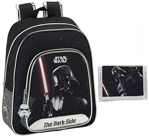 Star Wars Darth Vader Kinderrucksack und Geldbörse Jungen Rucksack Börse schwarz Silber