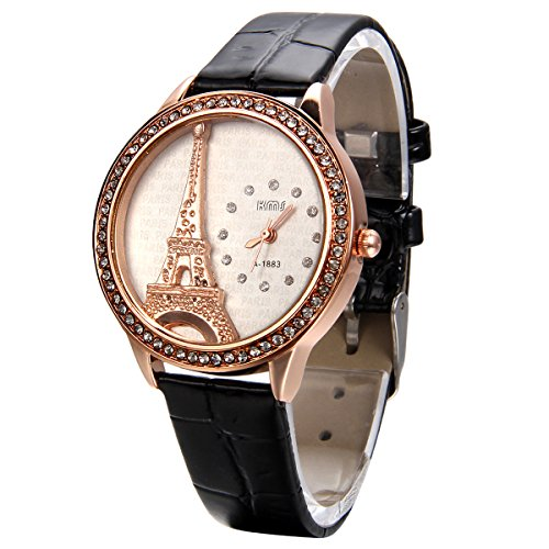 JewelryWe Damen Armbanduhr, Analog Quarz, Exquisite Leder Armband Uhr mit Strass Eiffelturm Zifferblatt, Schwarz