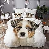 N2 Juego de Ropa de Cama Microfibra,Blanco Bronceado Cerca Pastor Australiano Cachorro Meses Un Solo Canino Lindo Perro Doméstico Frente Diseño,1 Funda Nórdica y 2 Funda de Almohada (Cama 220x240)