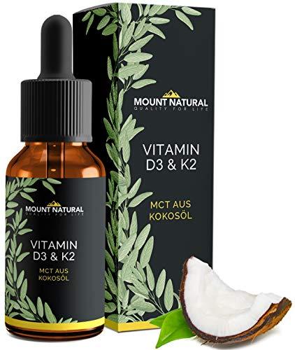 Vitamin D3 & K2 (Cholecalciferol & MK7-All-Trans)-NACHGEWIESENER VITAMINGEHALT!- BEIDE Vitamine hochdosiert 1000 IE/25 µg - Flüssig 1020 Tropfen in MCT-Öl aus Kokos - Laborgeprüft, ohne Zusatzstoffe