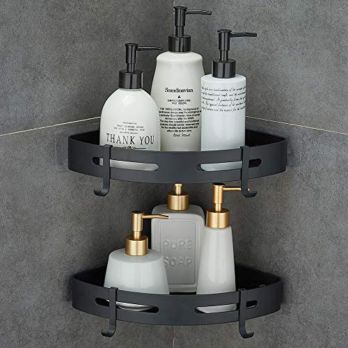Gricol Mensola da Doccia Angolare Senza Foratura Mensola in Alluminio Aeronautico con 2 Ganci per Doccia Auto Adesivo Anti-Ruggine Porta Oggetti da Ba