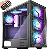 MUSETEX Phantom Black ATX Mid-Tower Case with USB 3.0 and 6 ×120mm ARGB Fans, Tempered Glass Panels Gaming PC Case Computer Chassis(907)