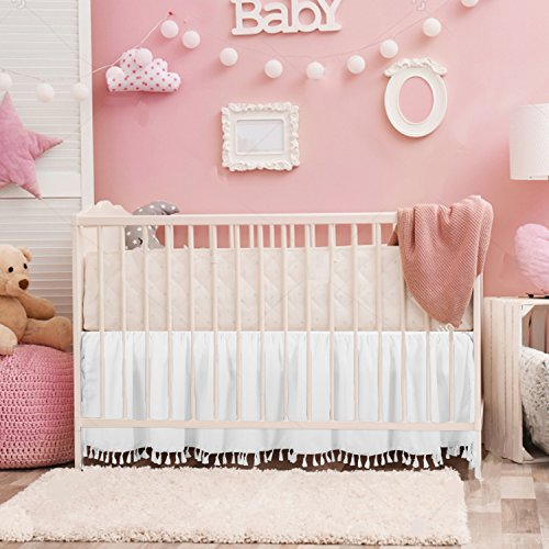 """CO-AVE White Crib Bed Skirt Dust Ruffle with Tassel Trim Nursery Crib Bedding Skirt for Baby Boys and Girls,15"""" Drop"""
