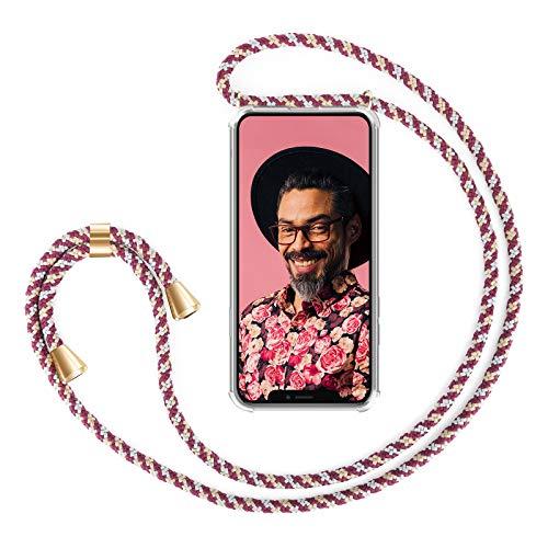 """ZhinkArts Collana Porta Cellulare Compatibile con Apple iPhone X/XS - Display 5,8"""" - Custodia da Collo per Smartphone, Nastro - Cover con Cordoncino da Indossare - Bordeaux/Rosso Mimetico"""