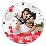 LaMAGLIERIA Orologio Personalizzato con la Tua Foto - Orologio da Parete in Vetro - Tondo Diametro 30cm, Love