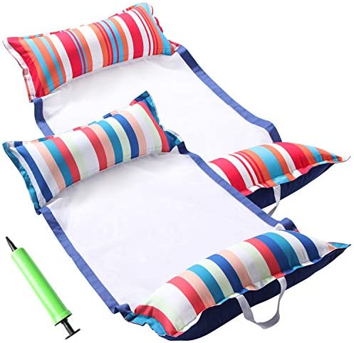 FindUWill Inflatable Pool Float 2 Pack Soft Fabric Multi Purpose Inflatable Hammock Saddle Lounge product image