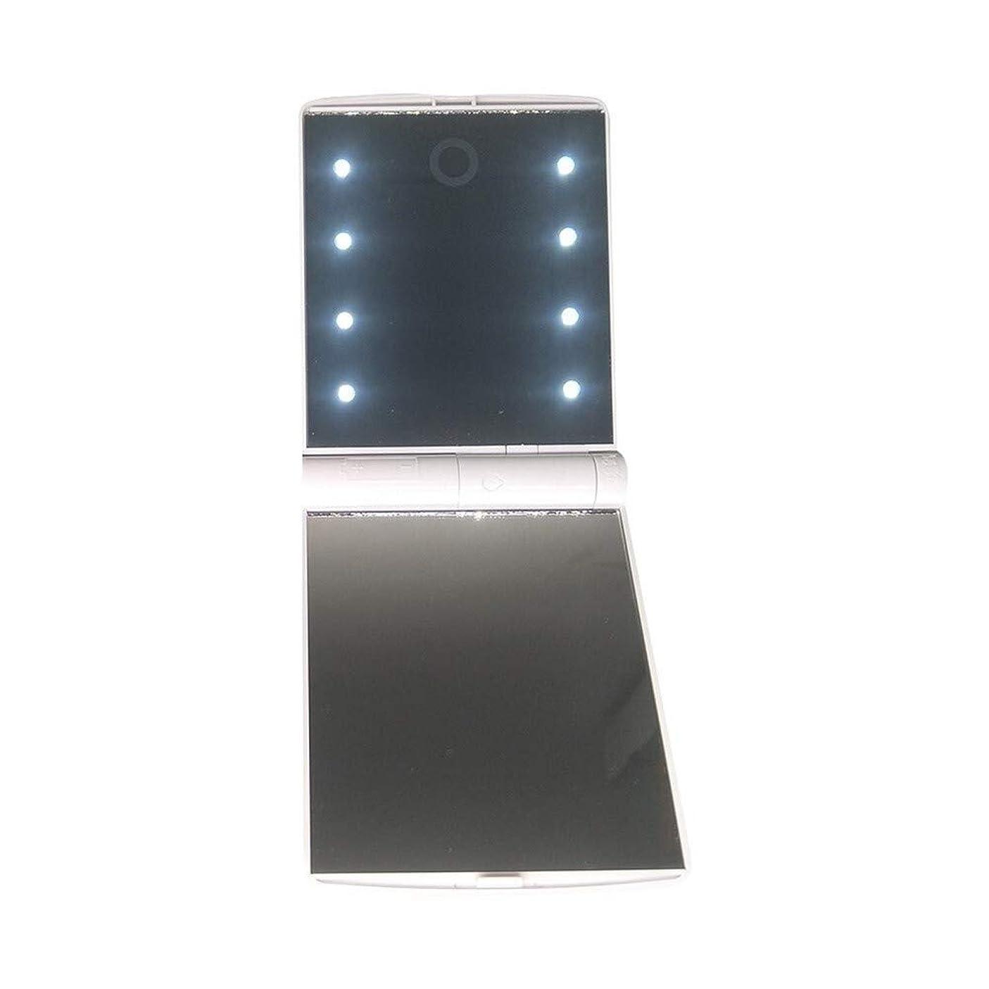 薄暗いフレキシブル不運化粧鏡 23A / 12Vのバッテリを使った携帯用化粧鏡LED照光調整明る折り畳み式の両面ミラー LED 両面 鏡 卓上 スタンドミラー メイク (Color : White)