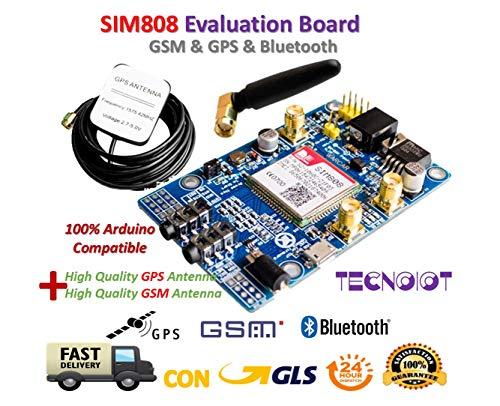 TECNOIOT SIM808 Module gsm GPRS GPS Development Board IPX SMA with GPS gsm Antenna