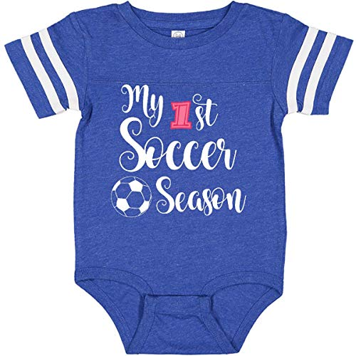 inktastic My 1st Soccer Infant Creeper Newborn Football Blue and White 28779