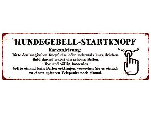 Interluxe METALLSCHILD Blechschild Türschild HUNDEGEBELL-STARTKNOPF Hund Klingelschild Shabby Weiss