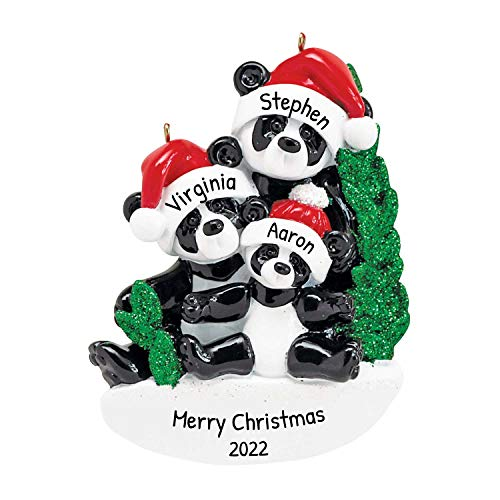 Personalized Bamboo Panda Bear Family of 3 Christmas Tree Ornament 2020 - Parent Child Friend Santa Hat Hold Hand Glitter Green Winter Holiday Tradition Gift Year - Free Customization (Three)