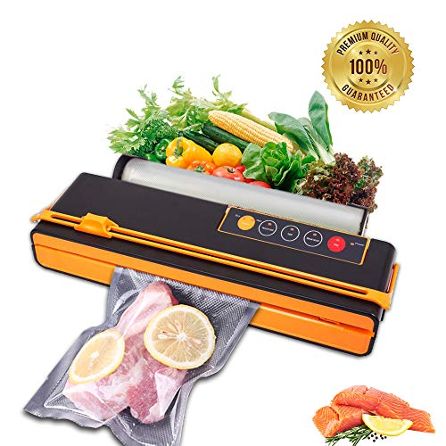 Vacuum Sealer Food Saver air seal sealing system sous vide cooker Fruits Meat Fish Coffee Wine Containers Preservation Sealer Vacuum Packing Machine Uparade Own Cutting Knife Bag Slot Multi-Function Vacuum Food Machine One Roll of Bags (Orange)
