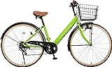 Voldy 完成自転車 27インチ LEDライト CTV-276-B シマノ製6段変速 男性 女性兼用 適正身長155cm以上 グリーン
