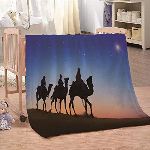 CLZHAO Manta Mullida Camello Árabe Manta de Tiro Impresa Colchas Plaids para Cama para Niños Adultos Manta Sólida Mantas Foulard para Cama Sofá 130x150cm