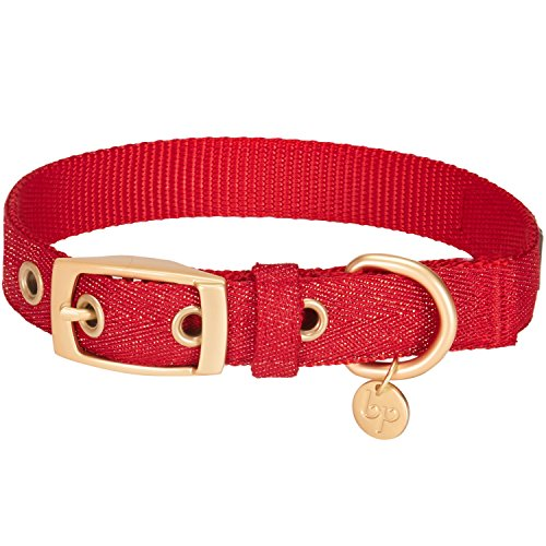 Blueberry Pet The Most Coveted Designer Mixed Metallic Thread Dog Collar in Sparkling True Red with Metal Buckle, Large, Neck 43cm-52cm, Adjustable Collars for Dogs
