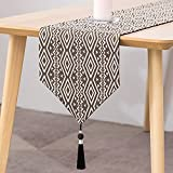 Beilinan Cotton Linen Table Runner 108 Inches Long Jacquard Black and White Farmhouse Table Runners with Tassels Party Dining Table Decor (Tassels, 13' x 108')