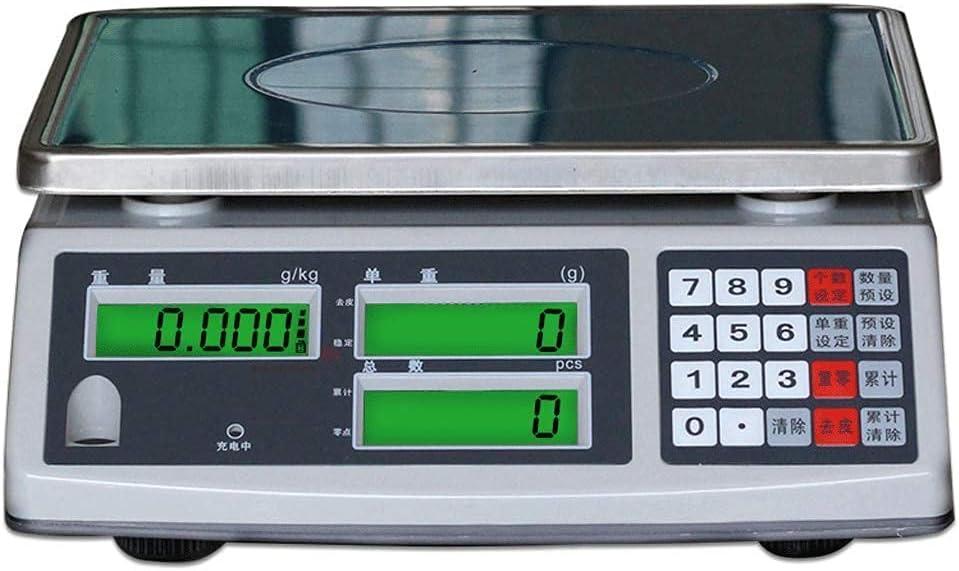 GPWDSN Báscula electrónica, conteo de Alta precisión 15 kg 30 kg Pesaje electrónico Precio Industrial 0.1 g Hogar Llamado Multifuncional (30 kg / 2 g)