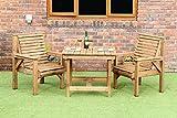 Juego de muebles de jardín de madera con 2 sillas y mesa cuadrada de 3 pies