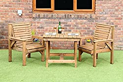 TWO PREMIUM CHAIRS AND TABLE IDEAL FOR THE SMALL GARDEN. ALL FURNITURE MANUFACTURED IN THE UK DELIVERED FULLY ASSEMBLED SCANDINAVIAN REDWOOD FSC CERTIFIED 36 INCH SQUARE X 28 INCH HIGH TABLE WITH 2 CHAIRS