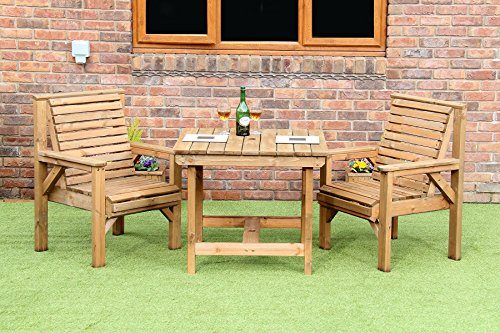 WOODEN GARDEN FURNITURE PATIO SET 2 CHAIRS AND 3 FOOT SQUARE TABLE NEW DELIVERED ASEMBLED