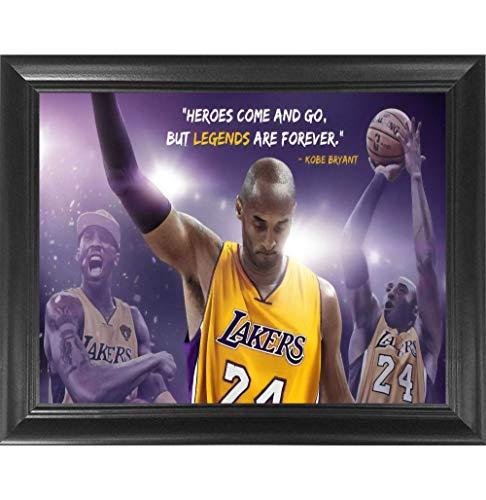 Kobe Bryant Legend Poster Wall Art Decor Framed Print | 24x18 Premium (Canvas/Painting Like) Textured Posters | LA Lakers NBA Basketball All Star Tribute Fan Memorabilia Gift for Guys & Girls Bedroom