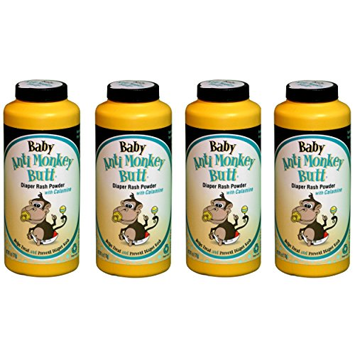 ANTI MONKEY BUTT Baby Diaper Rash Powder with Calamine, 6 Oz (4 Pack)