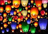 Shop4All Colorful Make A Wish High Flying Sky Ballon Hot Air Lantern with Fuel Wax Candle (Pack of...