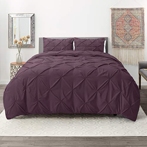 Nestl Bedding 3 Piece Pinch Pleat Duvet Cover Set | Eggplant Duvet Cover with 2 Pillow Shams |Microfiber Full Duvet Cover Set