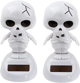 Iuhan  Solar Powered Skull Bobble Head Toy Halloween for Kids Adults, 2Pcs/ 5Pcs Halloween Solar Powered Dancing Skull Swinging Animated Bobble Dancer Toy Car Decor (2Packs)