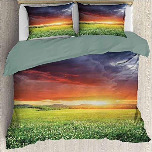 Nature Modern Duvet Cover Set Mystical Horizon con Dark Storm Cloud in Meadow with Sunset View Image Modern Decor 3Pcs Duvet Cover Set con Cierre de Cremallera Multicolor Twin XL Size