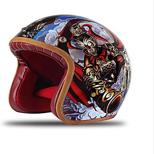 ZHXH Harley Motorradhelm, Erwachsene Männer und Frauen Immergrüne Harley Retro Street Riding 3/4 Motorrad Helm mit offenem Gesicht Punkt genehmigt,