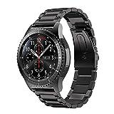 MroTech Correa Compatible para Samsung Gear S3 Frontier/Classic/Galaxy Watch 46mm Pulsera de Repuesto para Huawei Watch GT 2 /GT Sport/Active/Elegant Band 22mm Sólido de Acero Inoxidable Metal Negro
